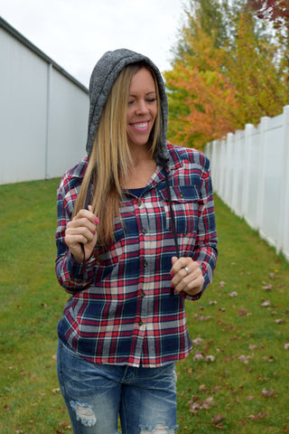 Bree Plaid Shirt with Detachable Hood - Taupe/Red