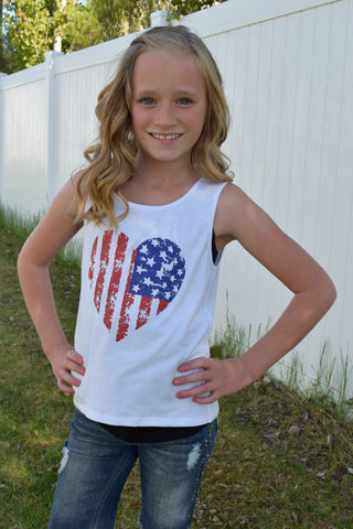 Lil' Miss Americana Tank Top - White