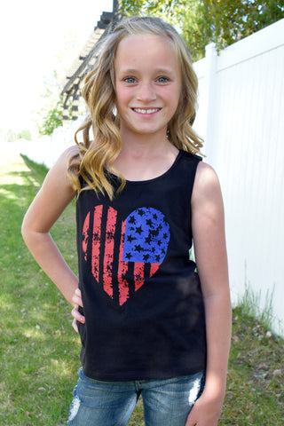 Lil' Miss Americana Tank Top - Black
