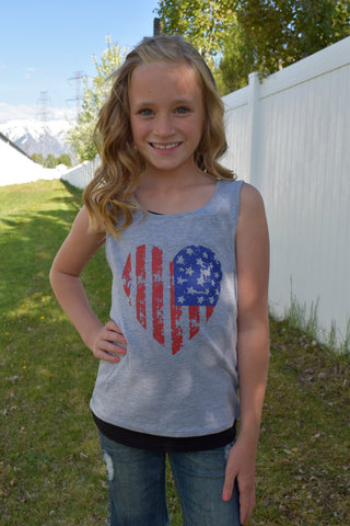 Lil' Miss Americana Tank Top - Gray