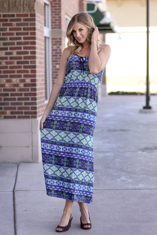 Geometric Sundress Green/Blue