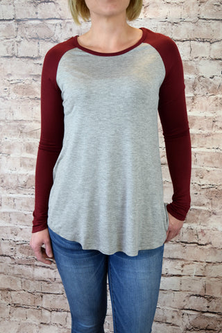 Jersey Raglan Sleeve Top - Burgundy/Heather Gray