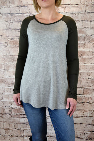 Jersey Raglan Sleeve Top - Olive/Heather Gray
