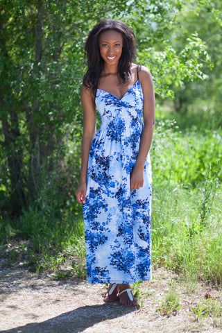 Florence Maxi Dress Little Flowers - Blue