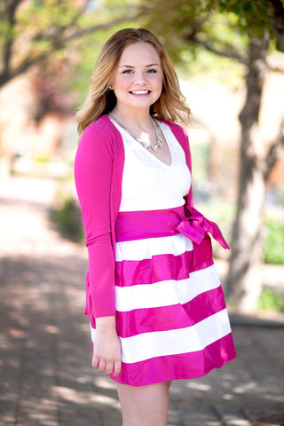 Kensington Striped Party Dress - Magenta