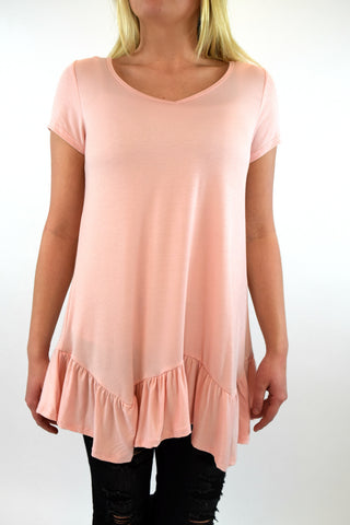 Lucy Ruffle Bottom Tunic - Blush