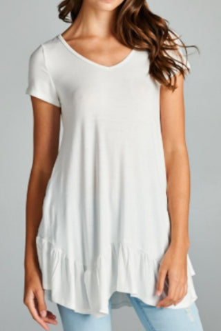 Lucy Ruffle Bottom Tunic - Ivory