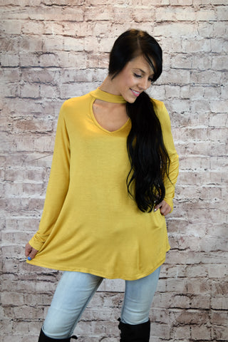 Meredith Band Neck Tunic - Mustard
