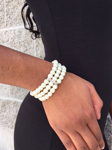 Multi Strand Pearl Bracelet with Rhinestone Accents - Multiple Color Options