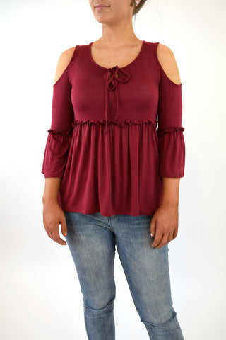 Selma Baby Doll Cold Shoulder - Burgundy