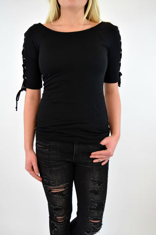 Sicily Tie Sleeve Top - Black