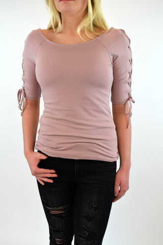 Sicily Tie Sleeve Top - Dusty Rose