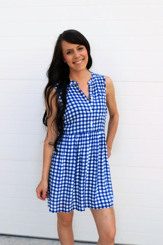 Sloane Gingham Sleeveless Sundress - Blue