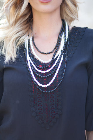 Two Tone Stranded Statement Necklace - 4 Color Options