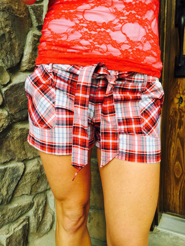 Tie Front Plaid Shorts Red