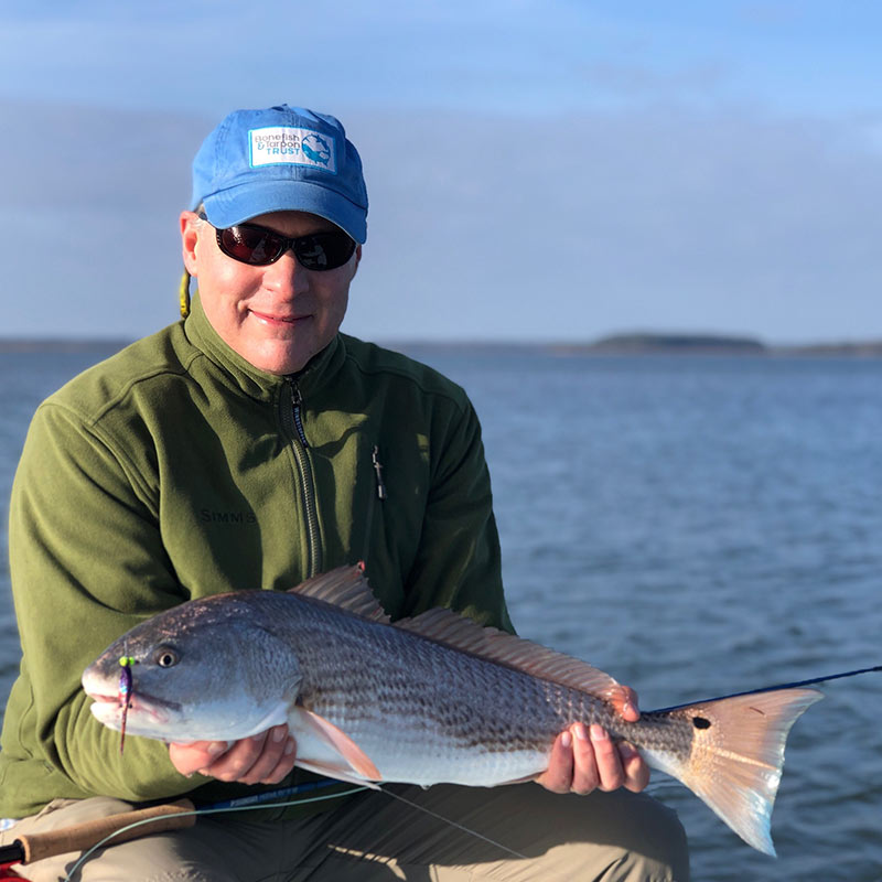 A nice red caught on a big fly this week with Captain Tuck Scott