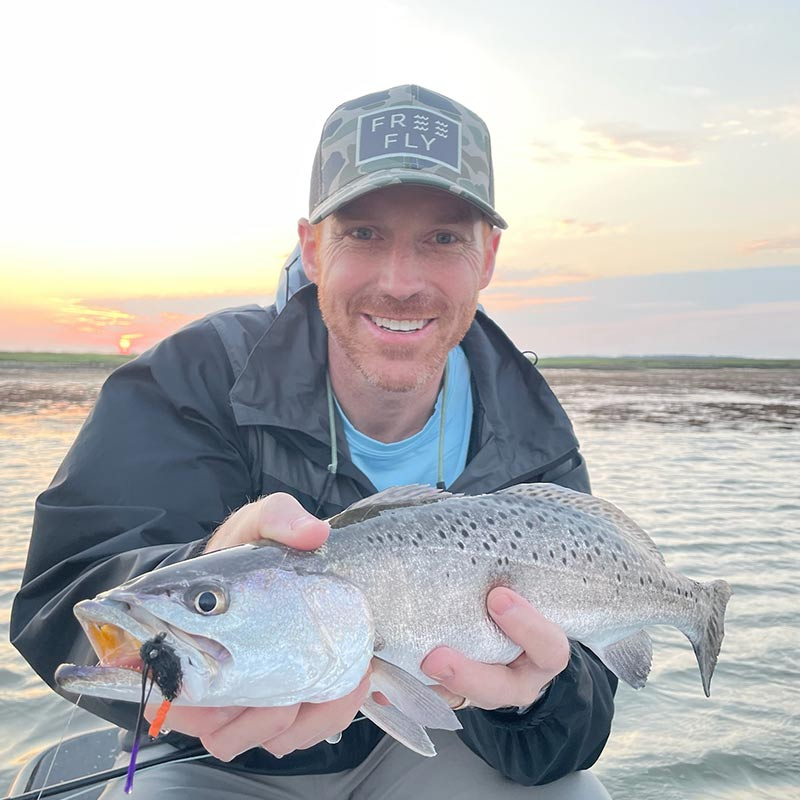 A beautiful trout caught this week with Captain Tuck Scott