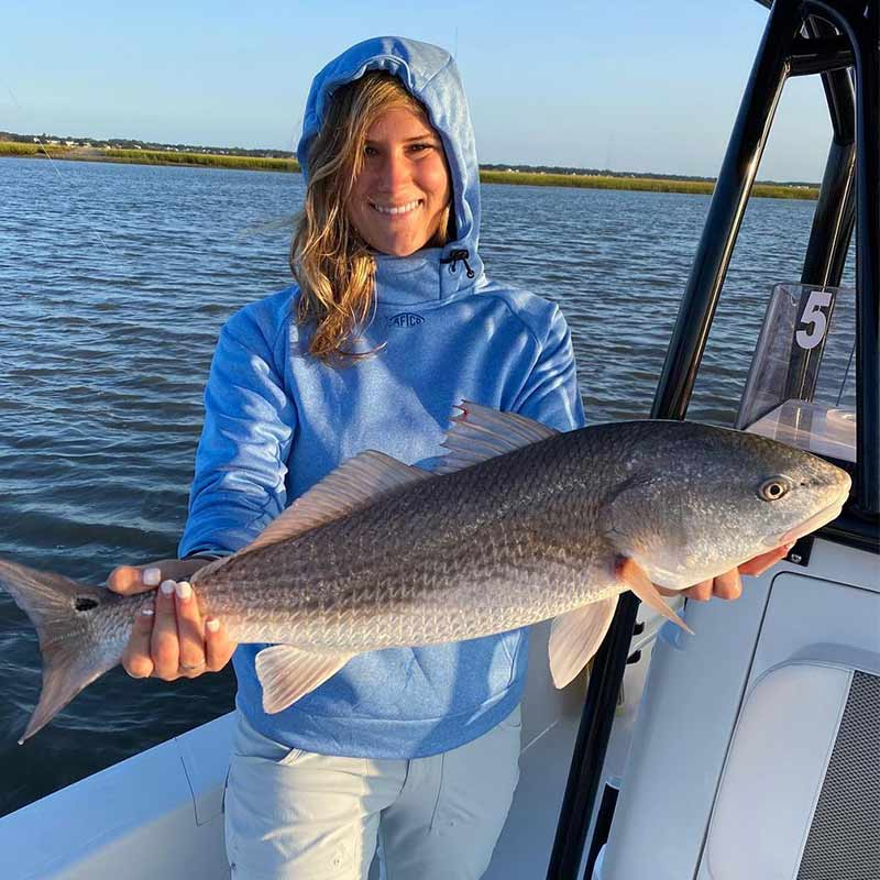 A beautiful redfish caught recently with Redfin Charters