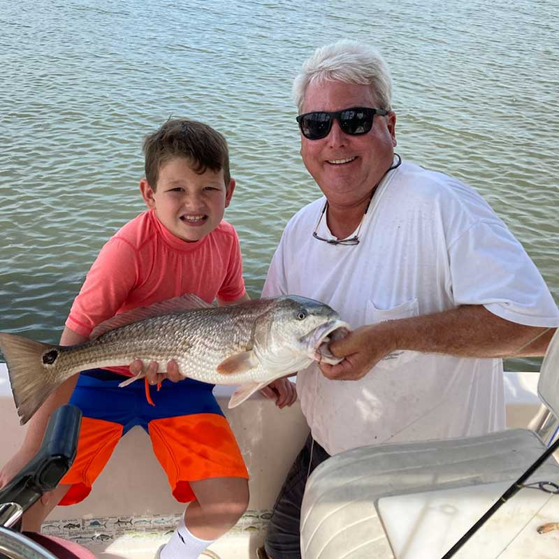 A young angler caught this nice redfish today with Captain Rob Bennett