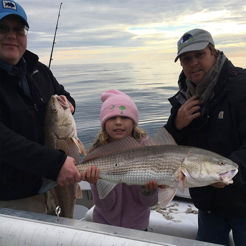 A good day for big red drum recently with Captain Ron Davis, Jr.