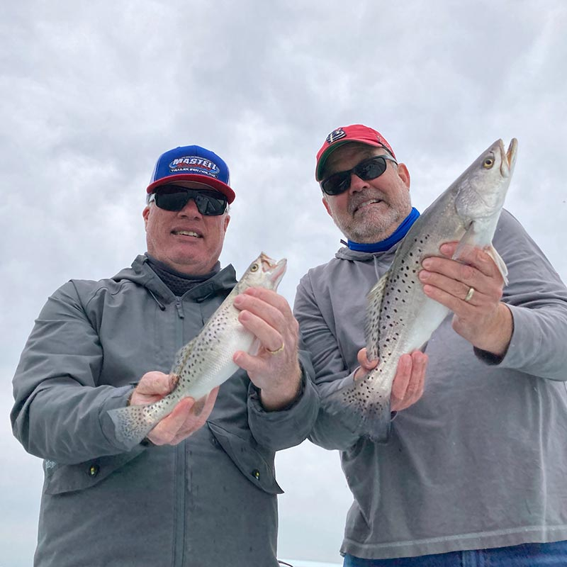 A couple of good trout caught this week with Captain Kai Williams