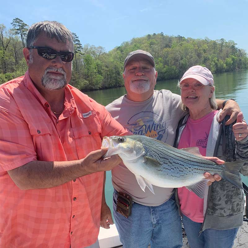 Chip Hamilton put some happy anglers on this nice hybrid this week
