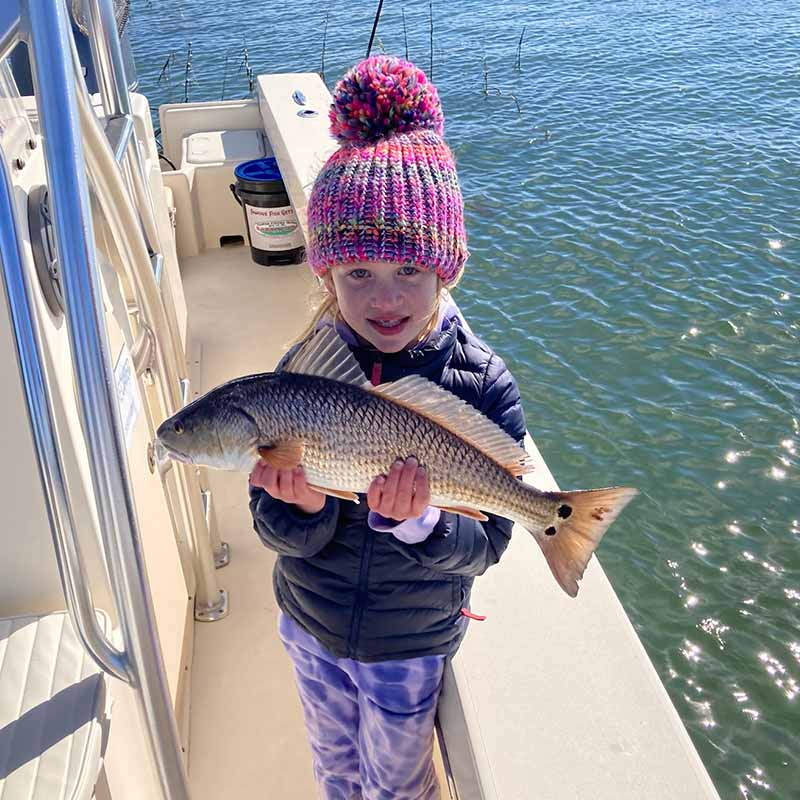 Captain Kai guided this young angler to this pretty redfish this week in the clear shallows