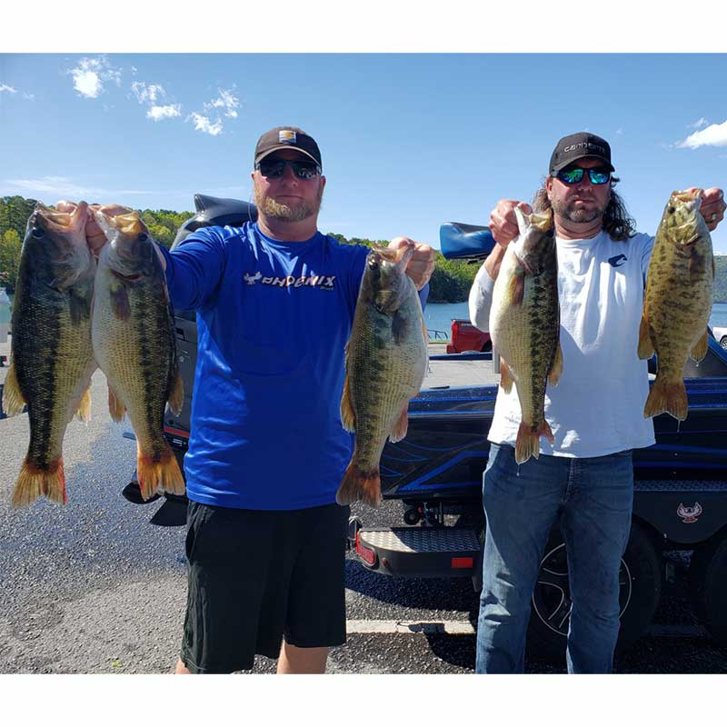 Joe Anders and Greg Glouse with five good Jocassee bass caught this week