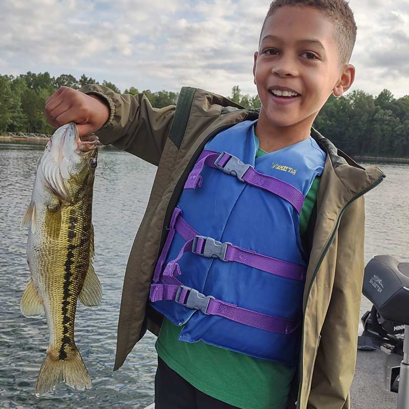 Charles Townson guided this young angler to this bass on a topwater yesterday