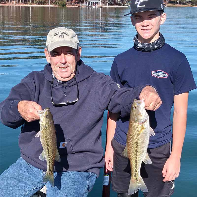 A couple of hungry spotted bass caught this week with Guide Charles Townson
