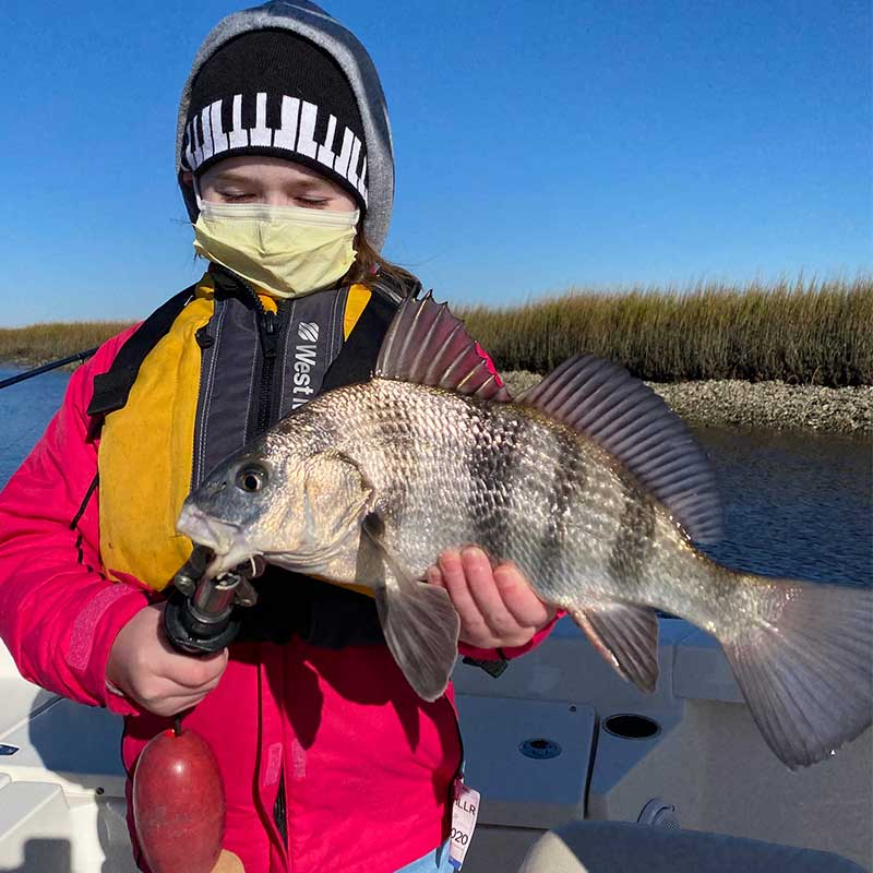 A nice black drum caught recently with Captain Smiley Fishing Charters
