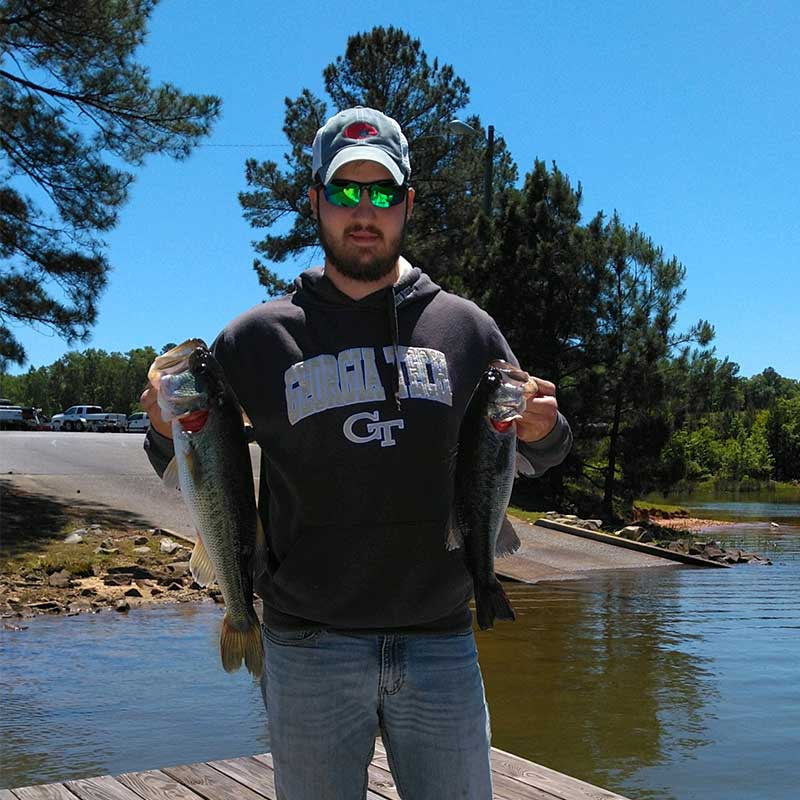 A couple of bass caught on Russell with Guide Jerry Kotal