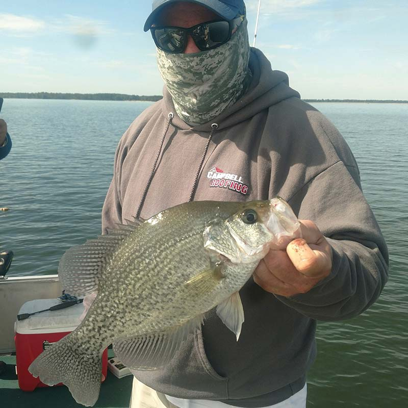 Joe Campbell with a nice crappie caught this week with Captain Steve English