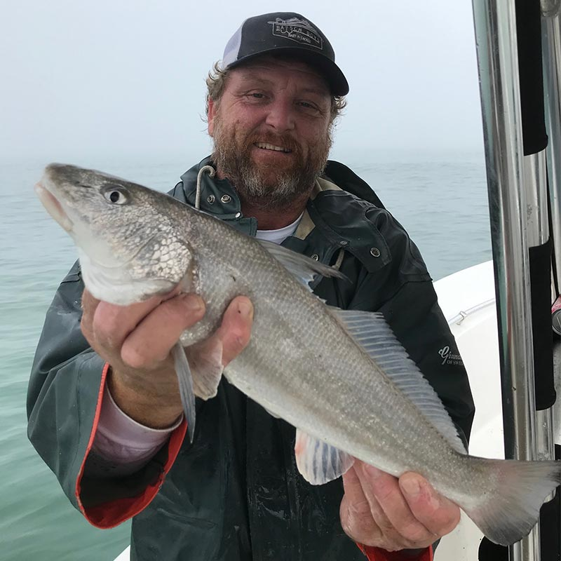 Captain J with the monster whiting!