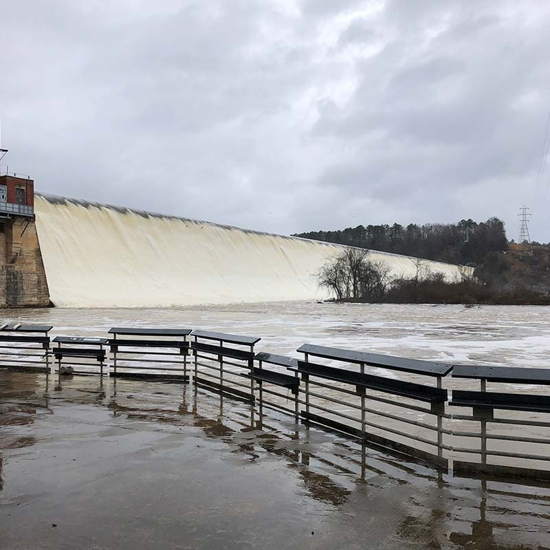The backside of the Lake Wateree Dam earlier this week