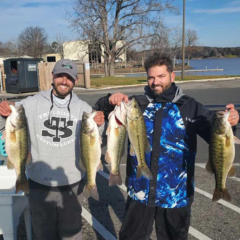 Vinny Ferreri and Chris Goodwin with probably the last really good tournament bag caught on Wylie (Dec. 19)