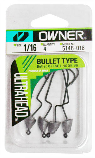 Owner Ultrahead Bullet Rig 4pk - Angler's Headquarters