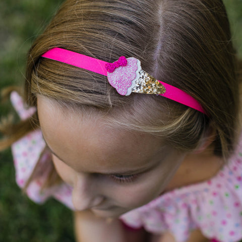Candy Pink with Ice Cream Cone Headband