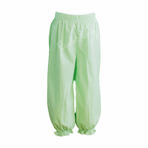 Girl's Green Gingham Woven Bloomer Pants