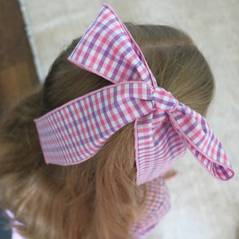 Hair Tie in Lavender & Pink Plaid