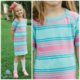 Sweater Dress in Aqua & Pink Stripe