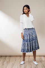 Fleur Panelled Midi Skirt - Royal Mawar