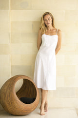 Steph Dress - White Linen