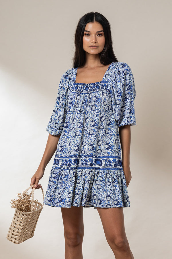 Poppy Mini Tunic Dress - Royal Mawar