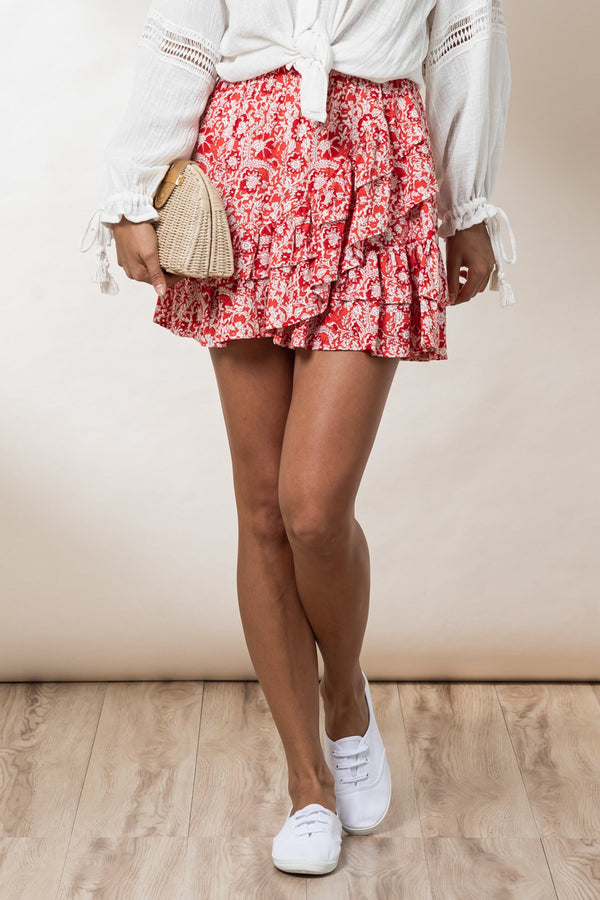 Susie Mini Skirt - Chilli Mawar