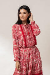 Riley Ruffled Peasant Blouse - Spice Kerala