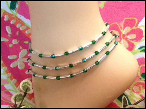 Emerald Green Stretch Ankle Bracelet - May Birthstone - Set of 3 - Petite to Plus Sizes
