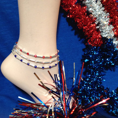 Red, Silver and Blue Stretch Ankle Bracelet - Set of 3 - Petite to Plus Sizes