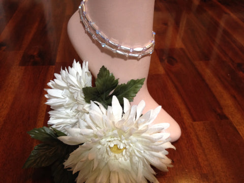 Diamond Crystal Stretch Ankle Bracelet - April Birthstone - Set of 2 - Petite to Plus Sizes