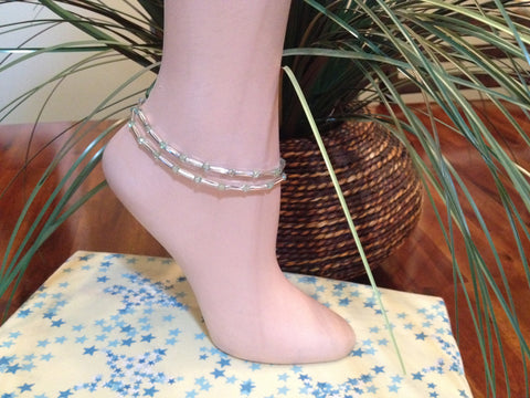 Peridot Stretch Ankle Bracelet - August Birthstone - Set of 2 - Petite to Plus Sizes